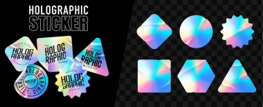 Holographic stickers. Hologram labels of different shapes. Colored blank rainbow shiny emblems, label. Paper Stickers. Vector illustration icon