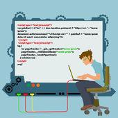 Work of a programmer. modern computer technology