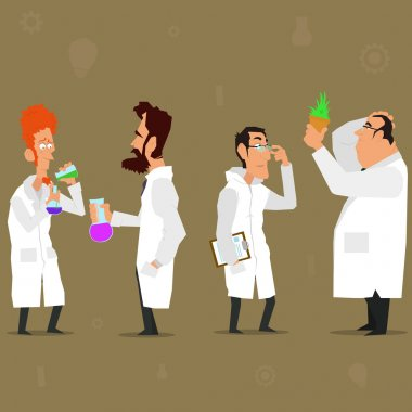 scientist characters   and lab coats.
