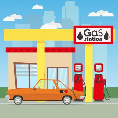 car refuels gasoline at the gas station.