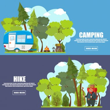 Colourful camping flat banner set
