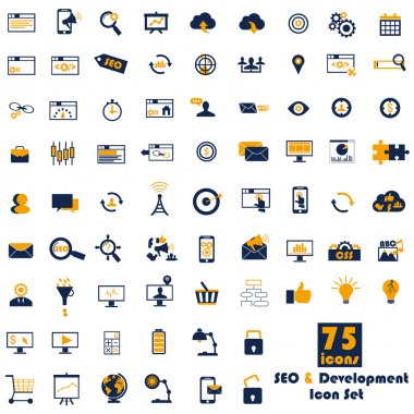 Set of SEO and Development icons.
