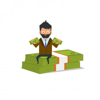 Happy businessman sitting on a pile of dollars.