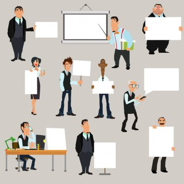 business people holding blank notes