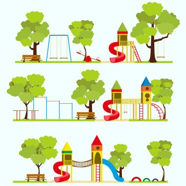 Playground in summer park. Vector illustration in a flat style. stock vector