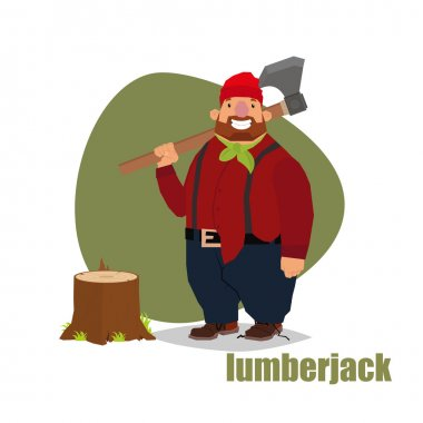 lumberjack standing with an ax and stump.