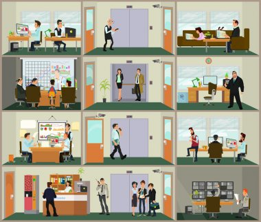 scenes of people working in the office.