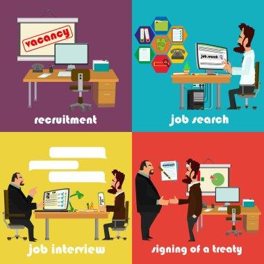 Recruitment flat icons set