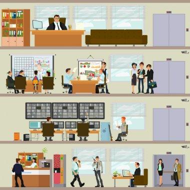 ofiste çalışan sahneler.