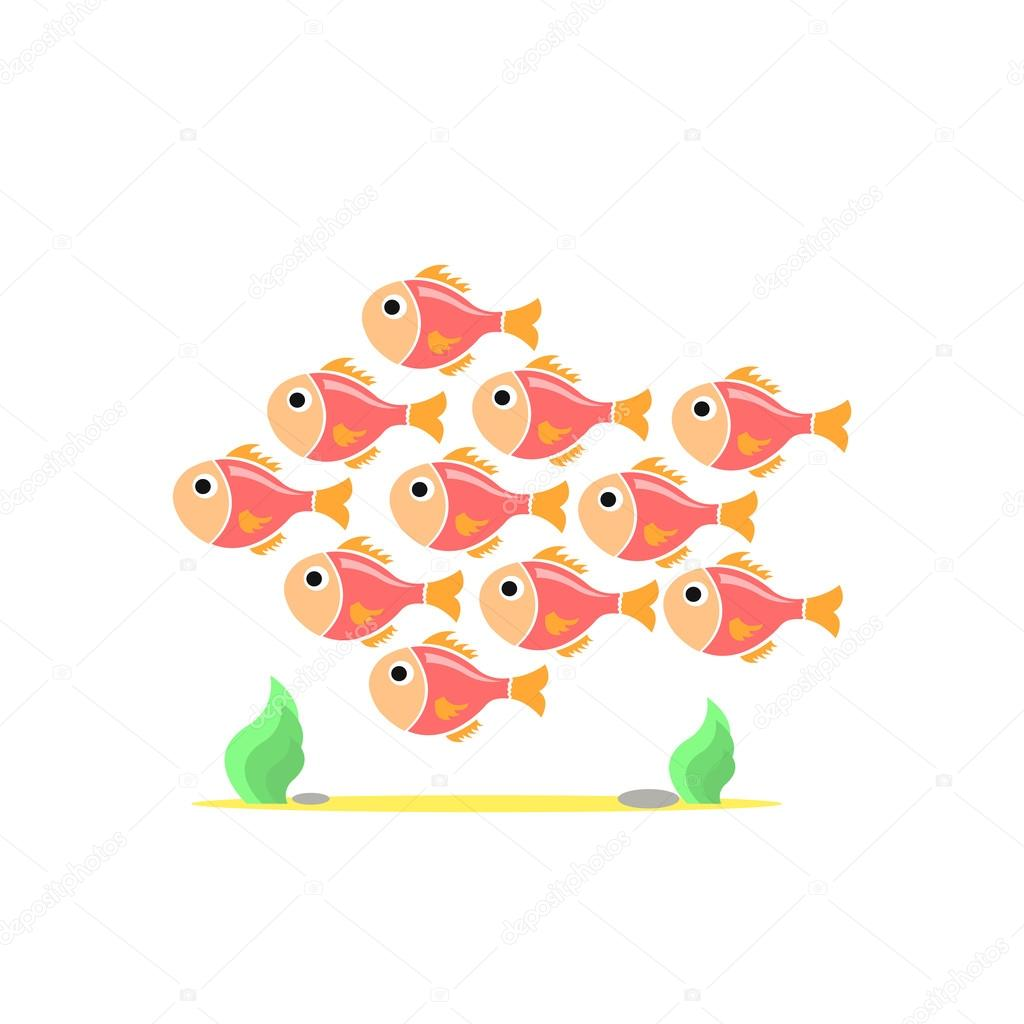 Colorful team of fishes united.