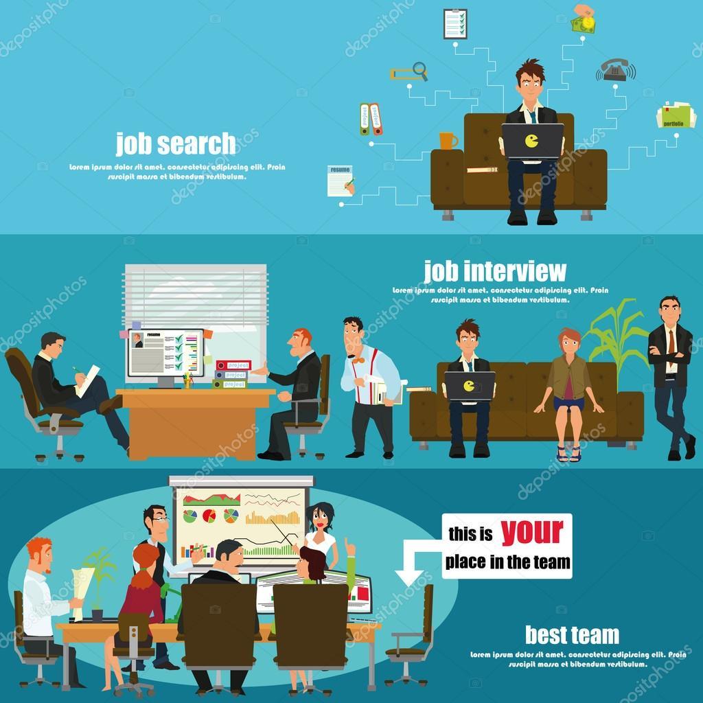 Recruitment flat banner set