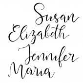 Photo Set of common american female names.