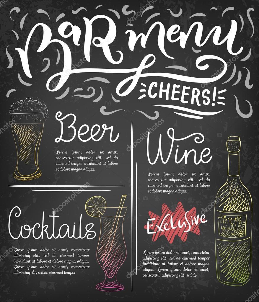 bar menu template — stock vector © zapolzun #108736884