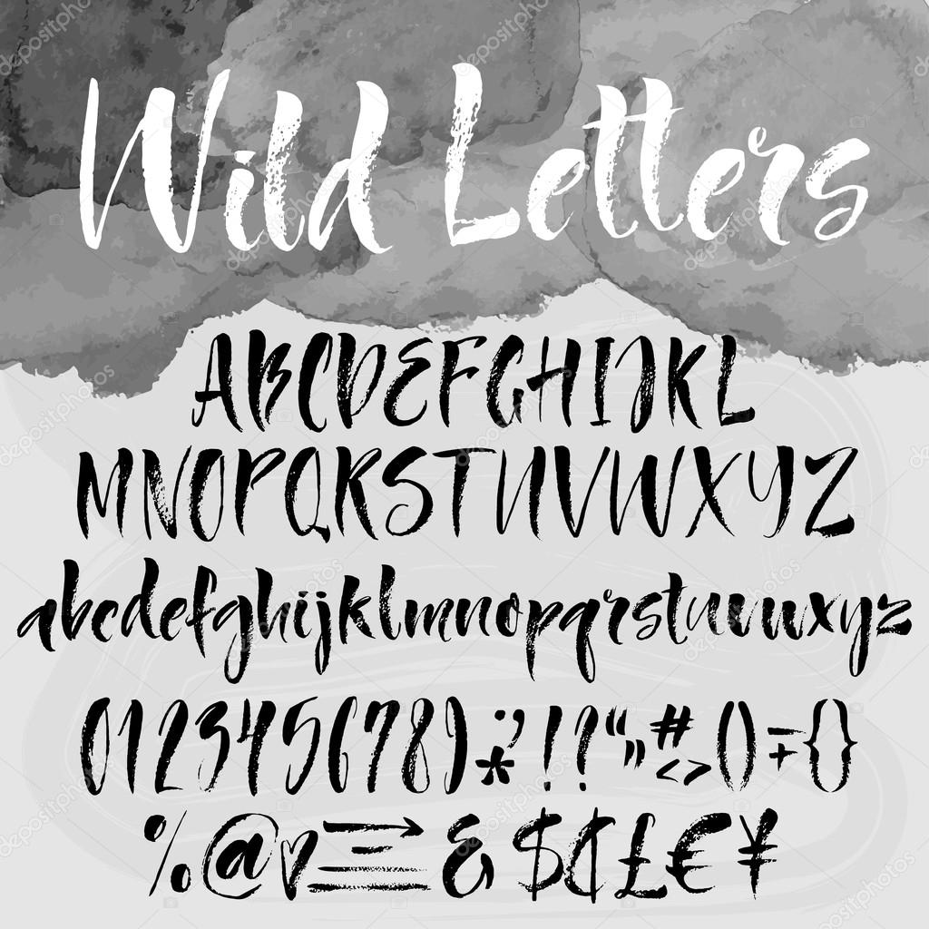 Brush lettering alphabetical set