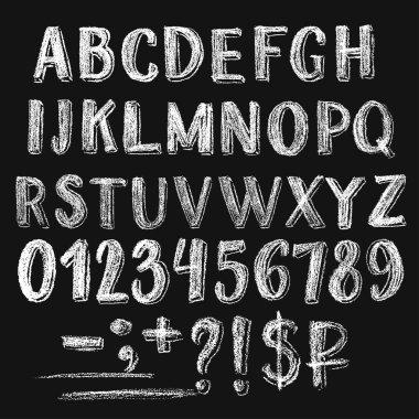 Sans serif chalk roman alphabet