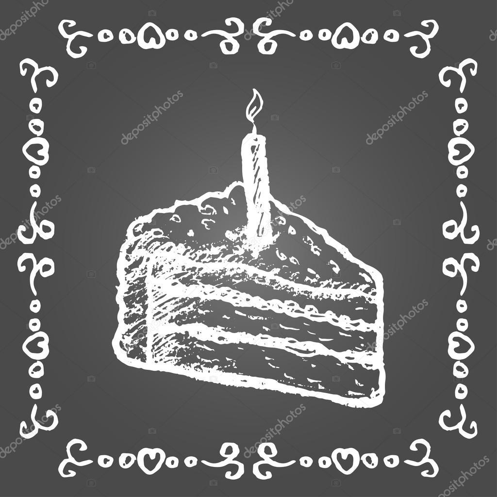 Chalk Geburtstagskuchen und Vintage-Rahmen — Stockvektor © zapolzun ...
