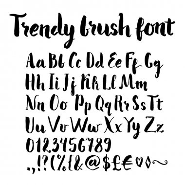 Brush written alphabet