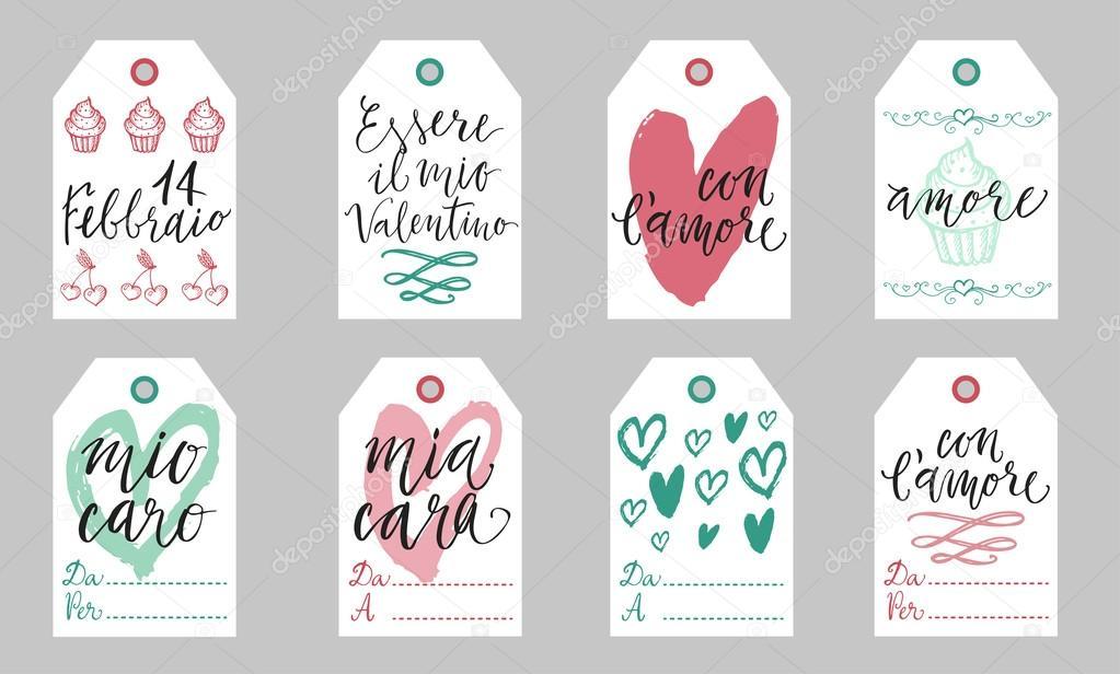 Italian Valentine Gift Tags Stock Vector Zapolzun 98101956