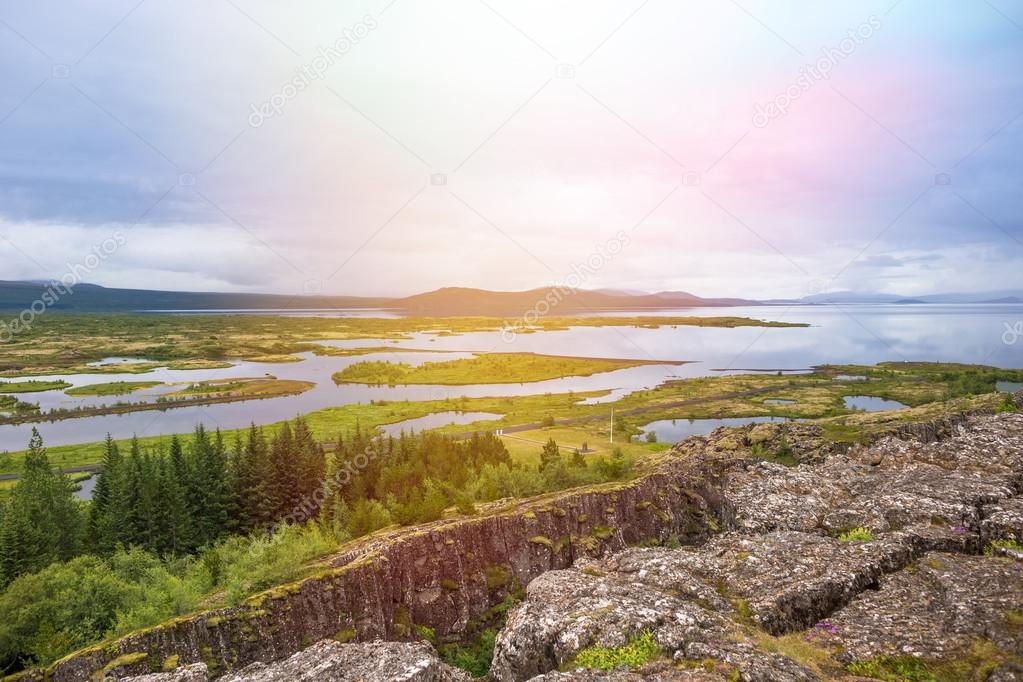 Thingvellir National Park - famous area in Iceland right on spot where the atlantic tectonic plates meets. UNESCO World Heritage Site