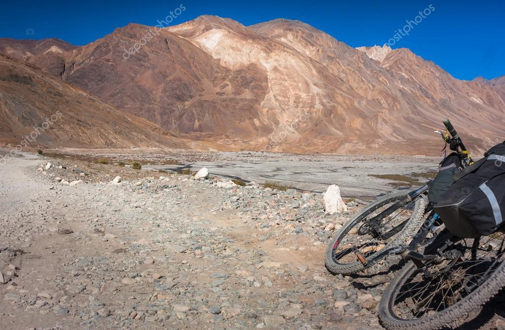 Fantastic Himalayas mountains landscape with bik at sunny day