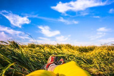 Yellow legs and red sneakers are lying on green grass