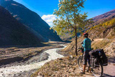 Fantastic landscape on mountain road stock vector