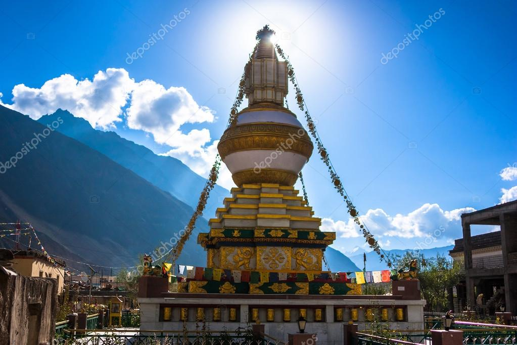 Tibet stupa in Himalayas mountains, North India