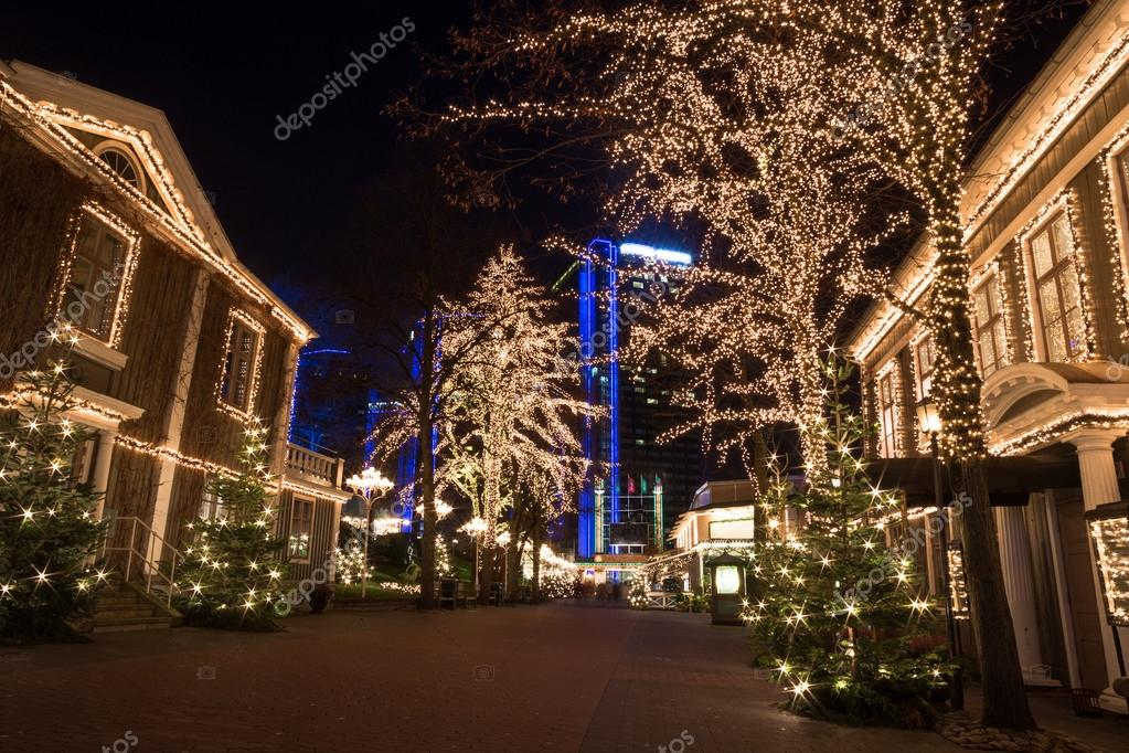 Amusement park liseberg with christmas decorations stock for Amusement park decoration ideas