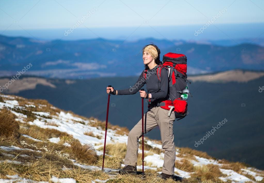 Hiker with Backpack in the wilderness