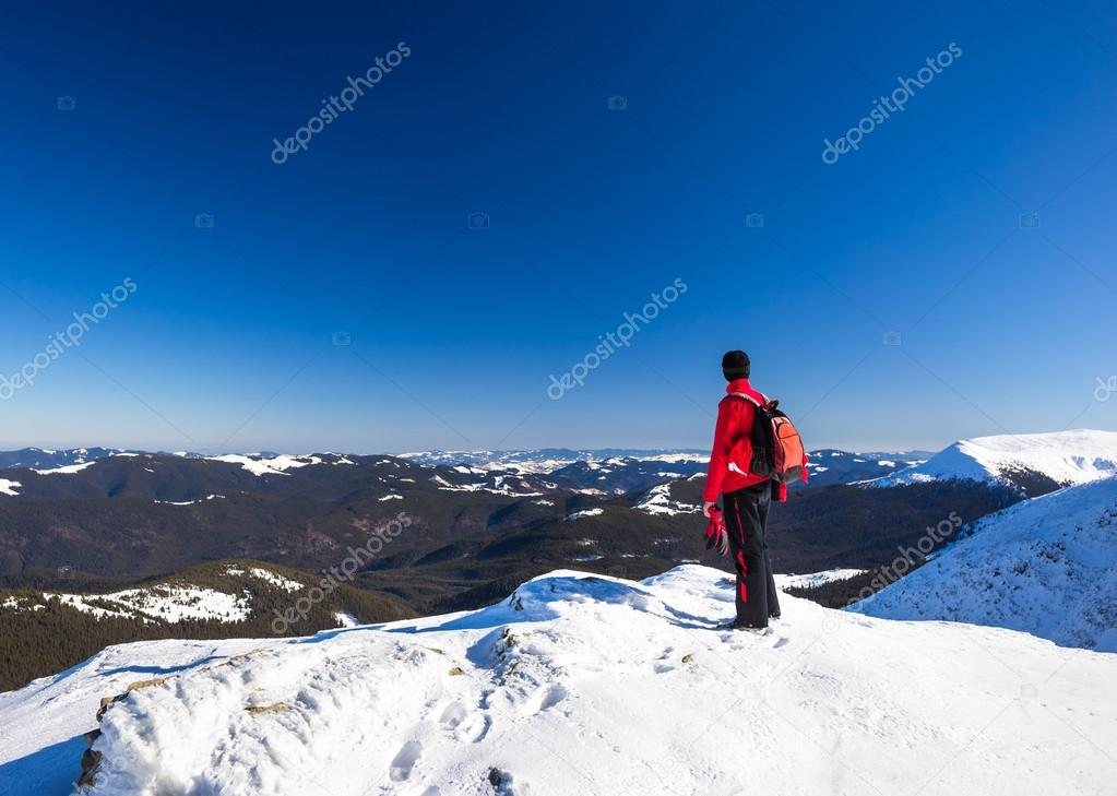 Man relax in mountains