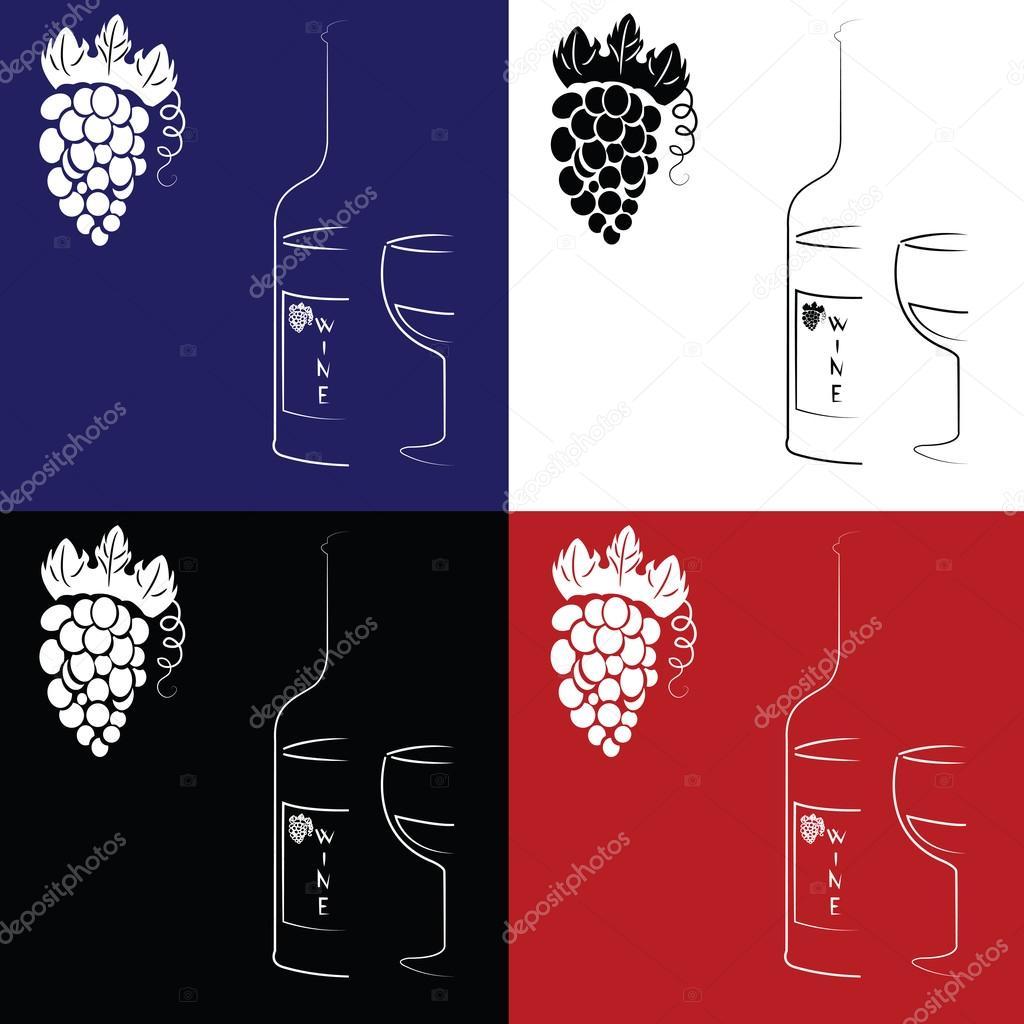 Sfondo Colorato Con Una Bottiglia E Un Bicchiere Di Vino Di Uve