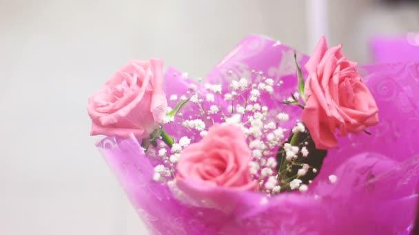 Beautiful bright flowers in bouquet roses, chrysanthemum