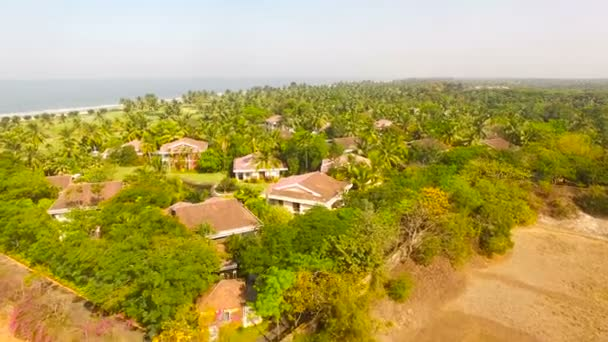 Beach with roof house from Aerial Drone