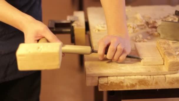 Tesař práce mistra při práci se dřevem