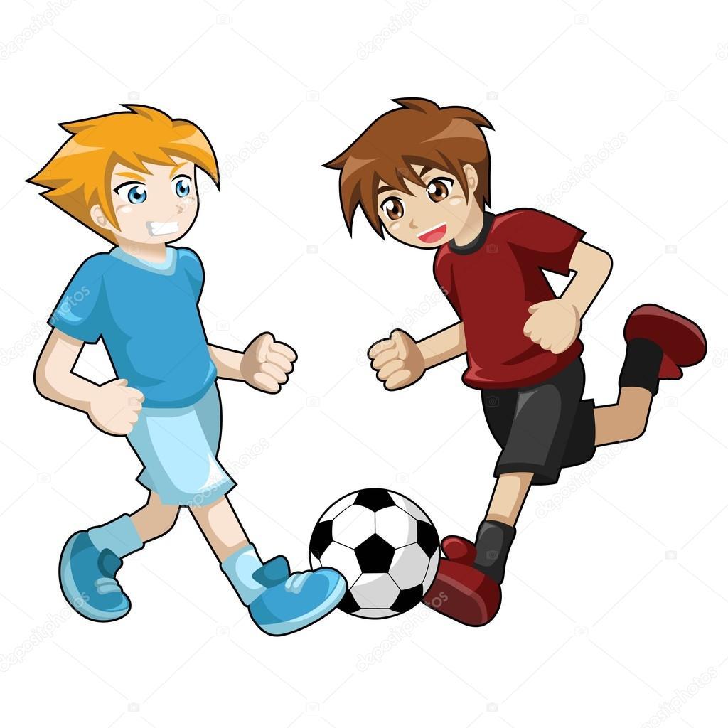 Niños jugando fútbol en fondo blanco — Archivo Imágenes