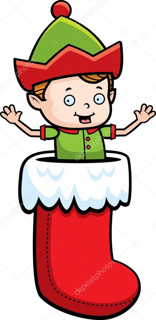 Šťastný karikatura vánoční skřítek ve punčochu — Vektor od ... 59e9bc5fcc