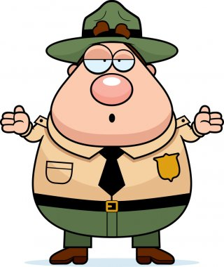 A cartoon park ranger with a confused expression. stock vector