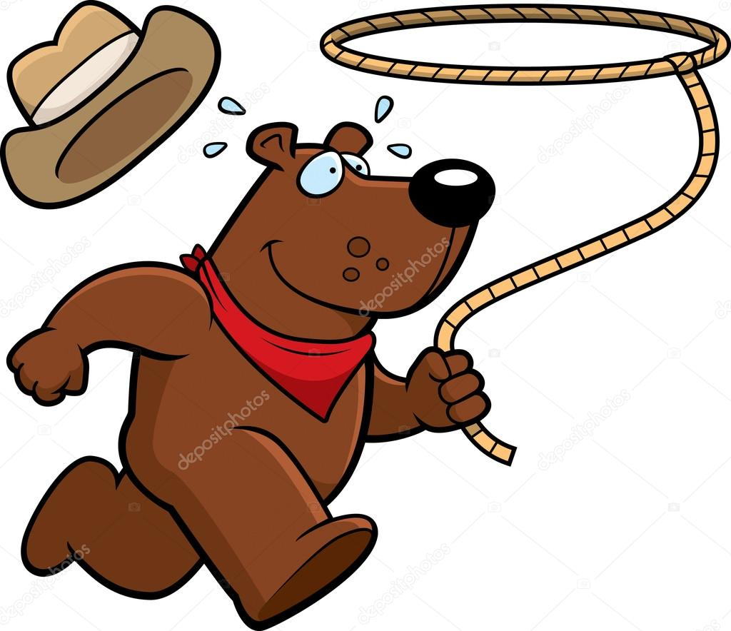A happy cartoon rodeo bear running with a lasso. — Vector by cthoman 19c27bdaf790