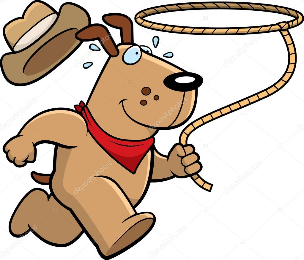 A happy cartoon rodeo dog running with a lasso. — Vector by cthoman 149c55e4abf6