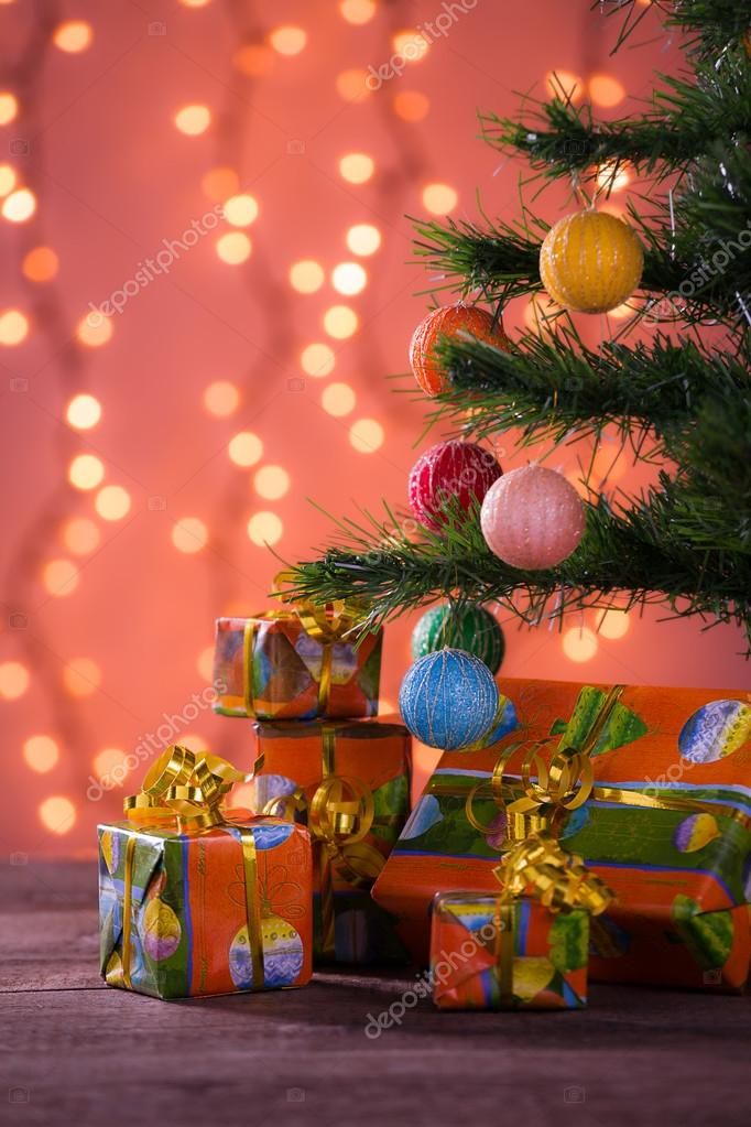Christmas gifts with blurred lights on background