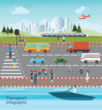 Set of transportation and city traffic.