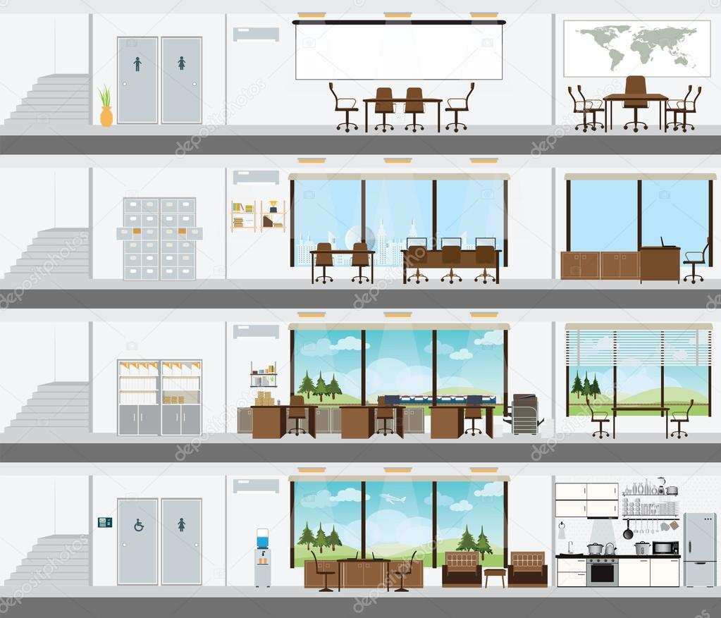 Cutaway office building with interior design plan stock for Room design vector