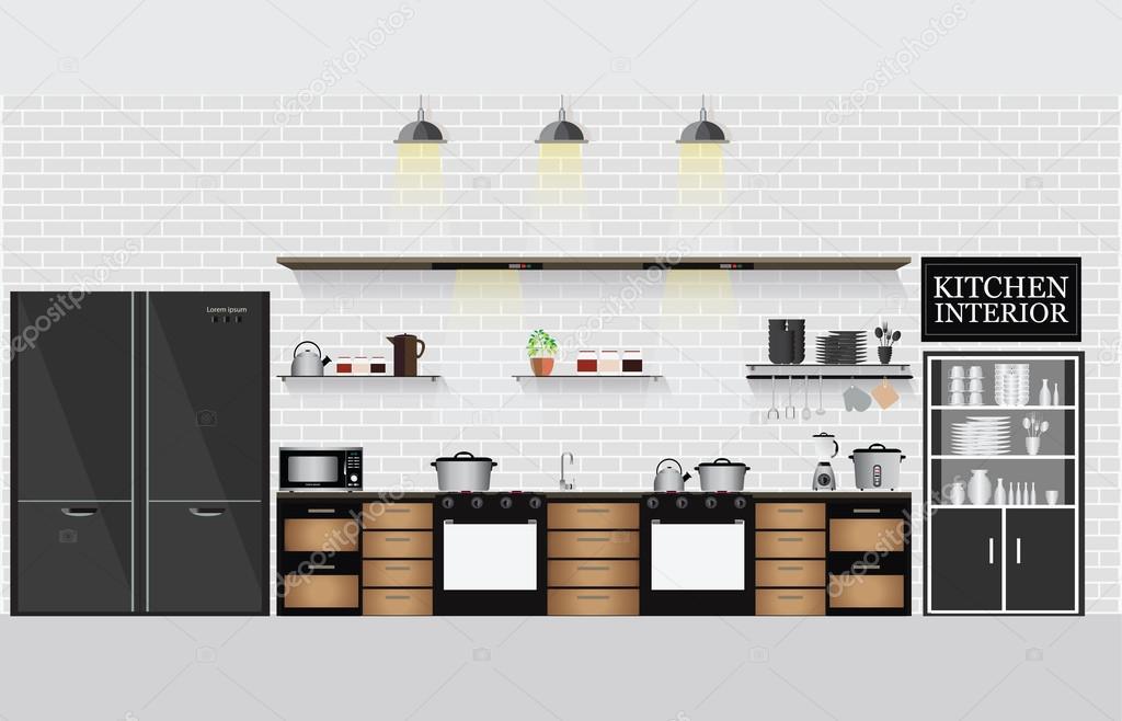 Cucina interna con mensole da cucina e utensili da cucinare ...