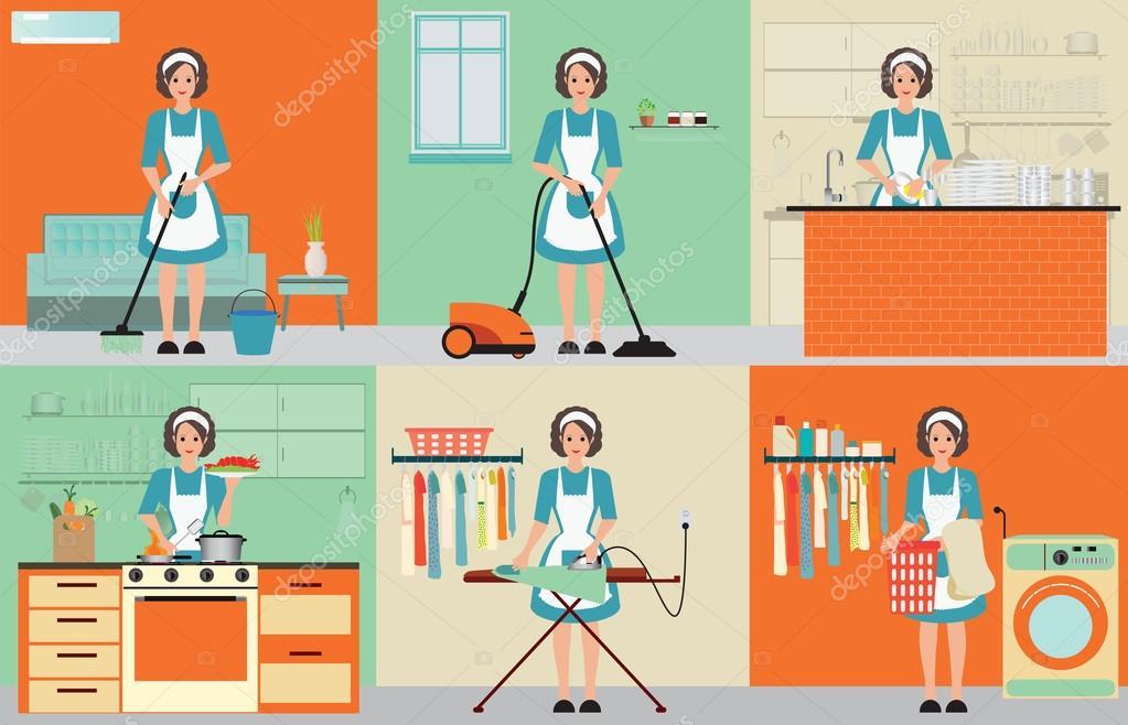 Señora sistema de limpieza de ama de casa — Vector de stock ...