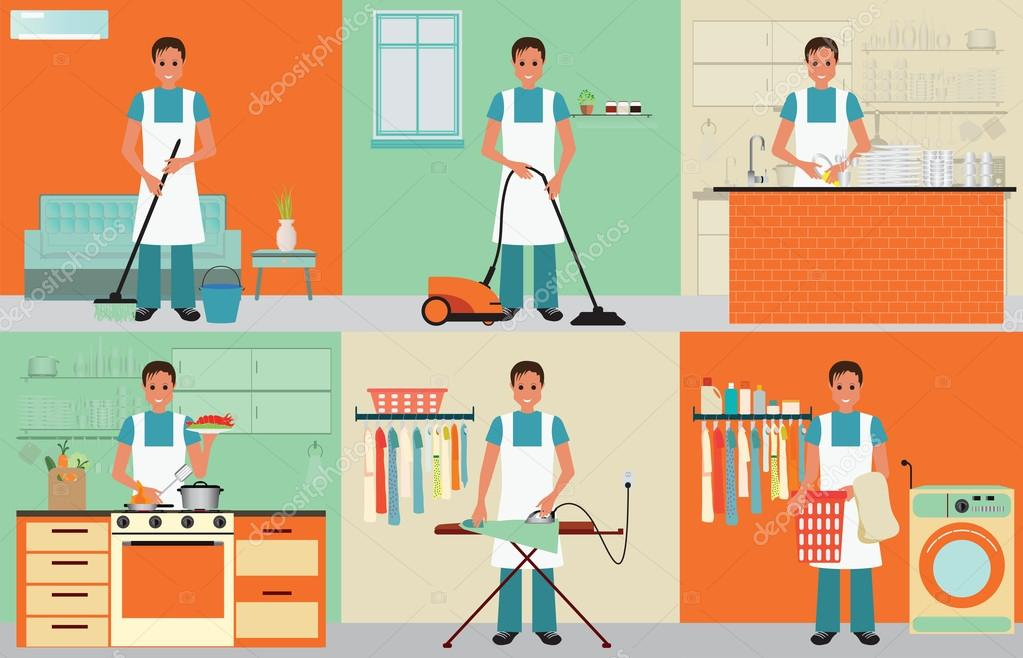Marido de casa limpieza — Archivo Imágenes Vectoriales © poemsuk ...