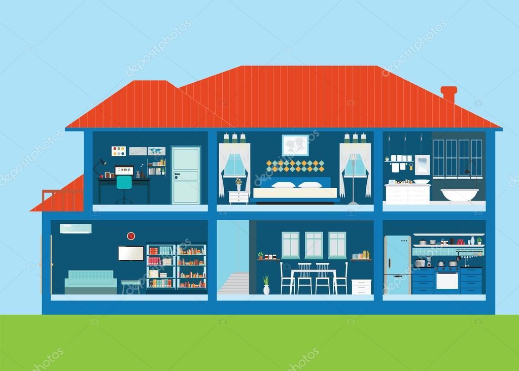 Sala exterior e interior de casa moderna de dise o con for Casa moderna vector