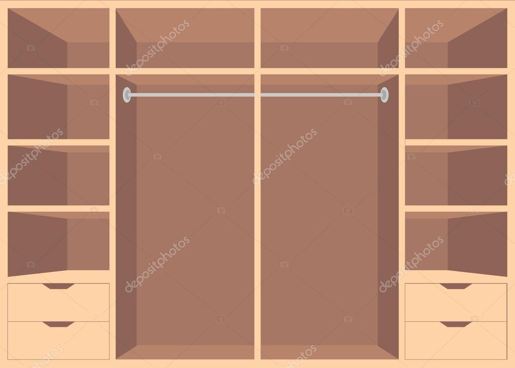 Plano a pie de diseño en armario con estantes — Vector de stock ...