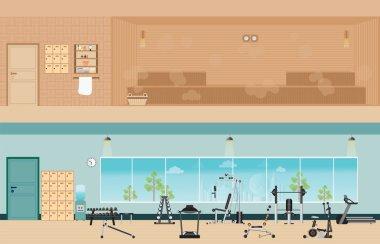 Set of fitness gym interior with equipment and sauna interior.