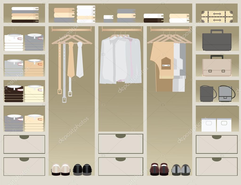 Flaches Design-begehbarer Kleiderschrank — Stockvektor © poemsuk ...