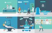 Informace o obrázku lékařské služby s lékaři a pacienti v ho